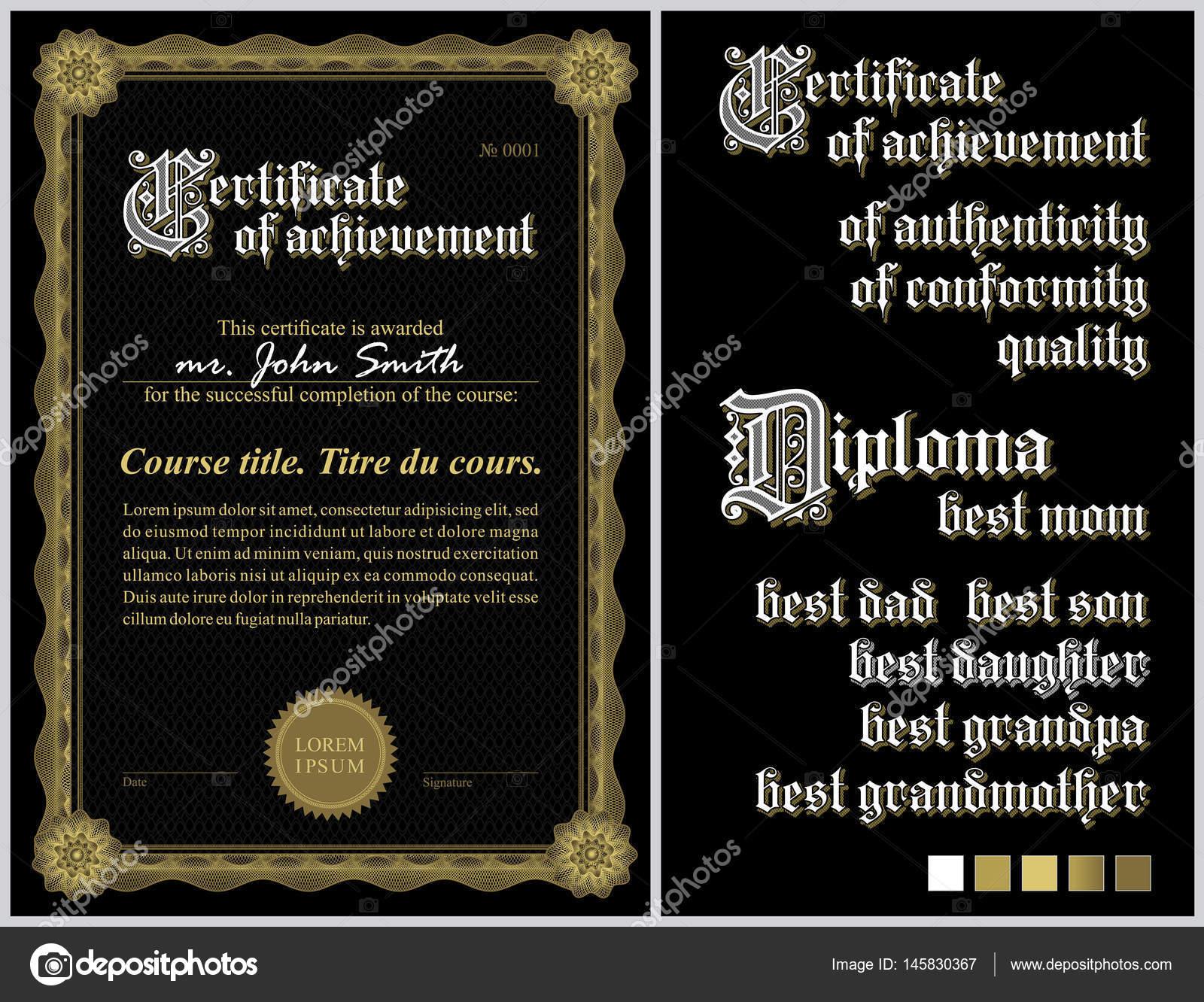 Schwarz und gold-Zertifikat. Vorlage. Guilloche. Vertikal ...