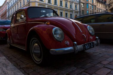 Helsinki, Finland - September 02, 2019: the famous Volkswagen beetle on the street of the old city.