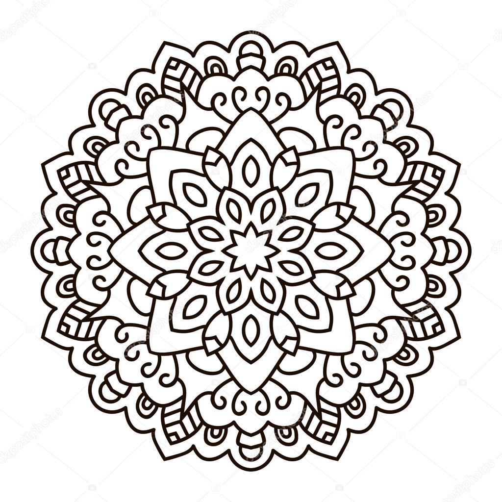 Doğu Etnik Mandala Yuvarlak Simetrik Desen Stok Vektör