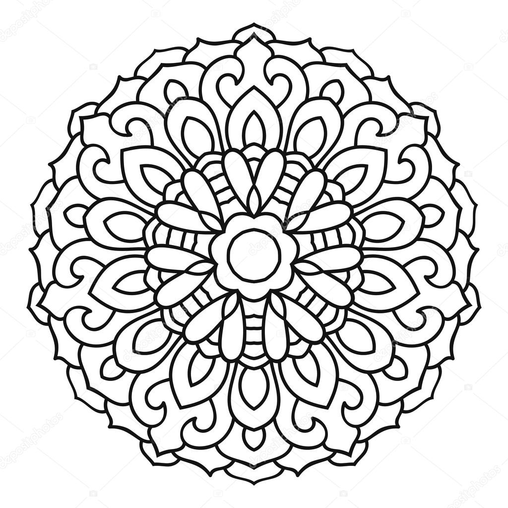 Round Outline Mandala For Coloring Book Vintage Decorative