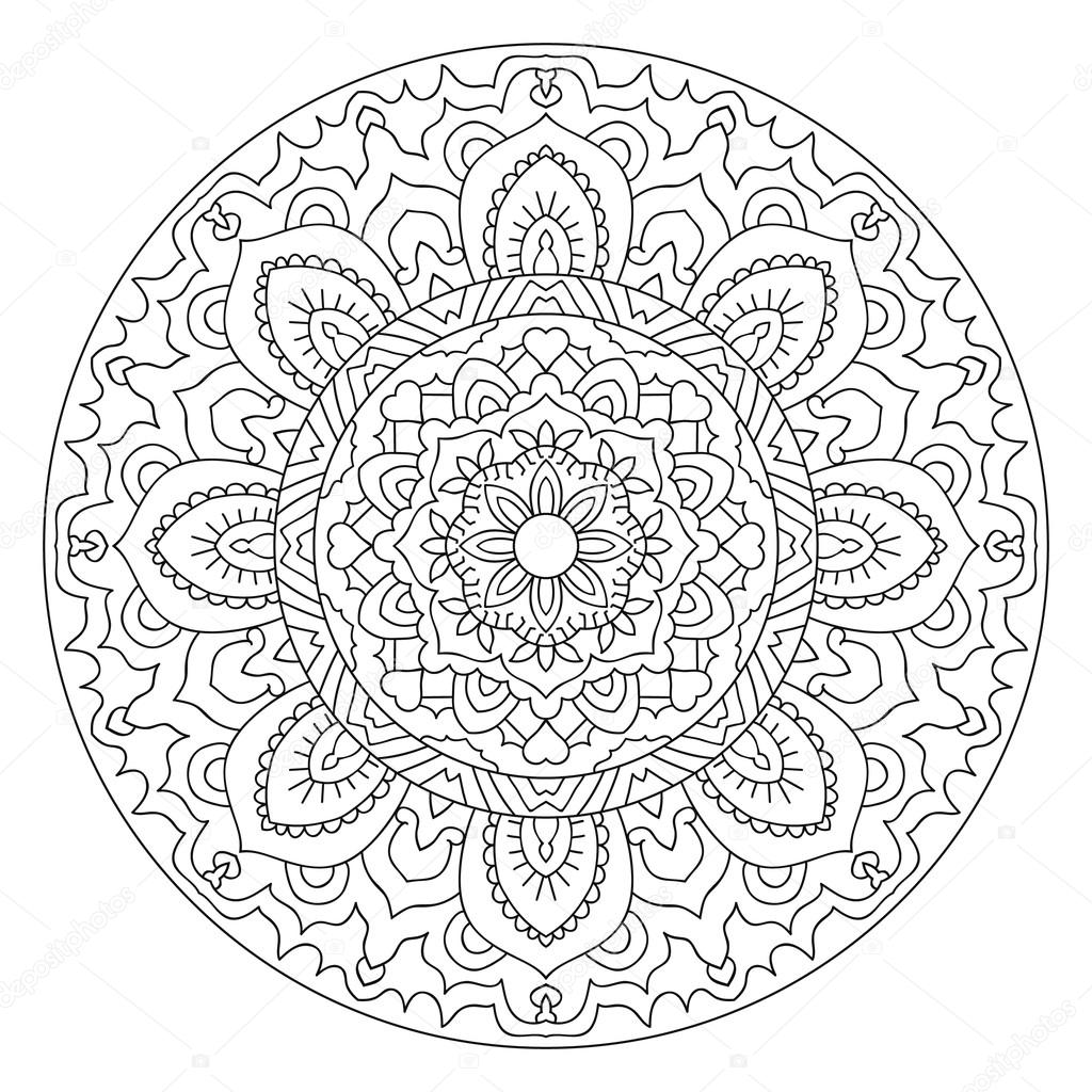 Round Outline Mandala For Coloring Book Stock Vector