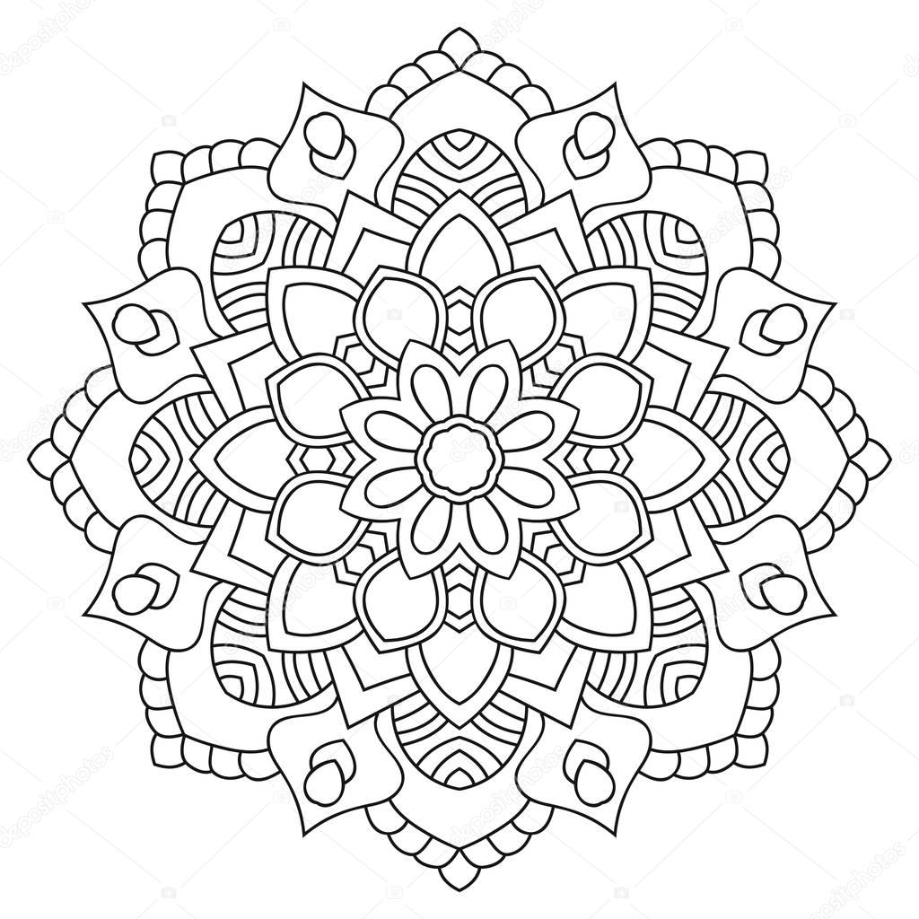Round Outline Mandala For Coloring Book Vintage Decorative Stock