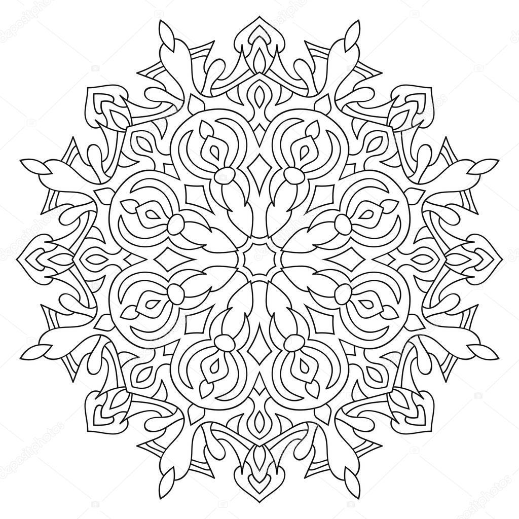Beyaz Arka Plan üzerinde Dairesel Simetrik Mandala çizimi Stok