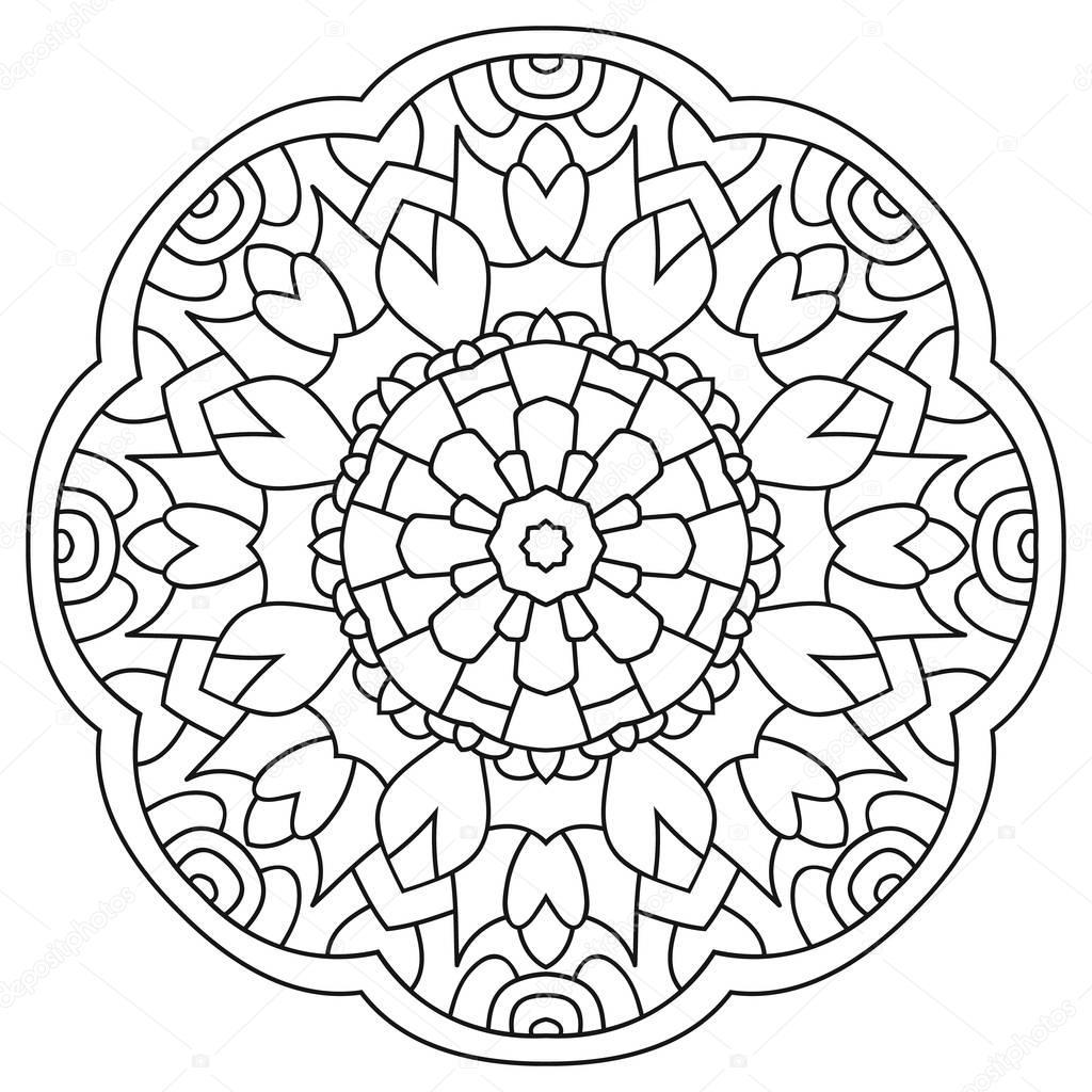 круговой симметричный мандала на белом фоне иллюстрация