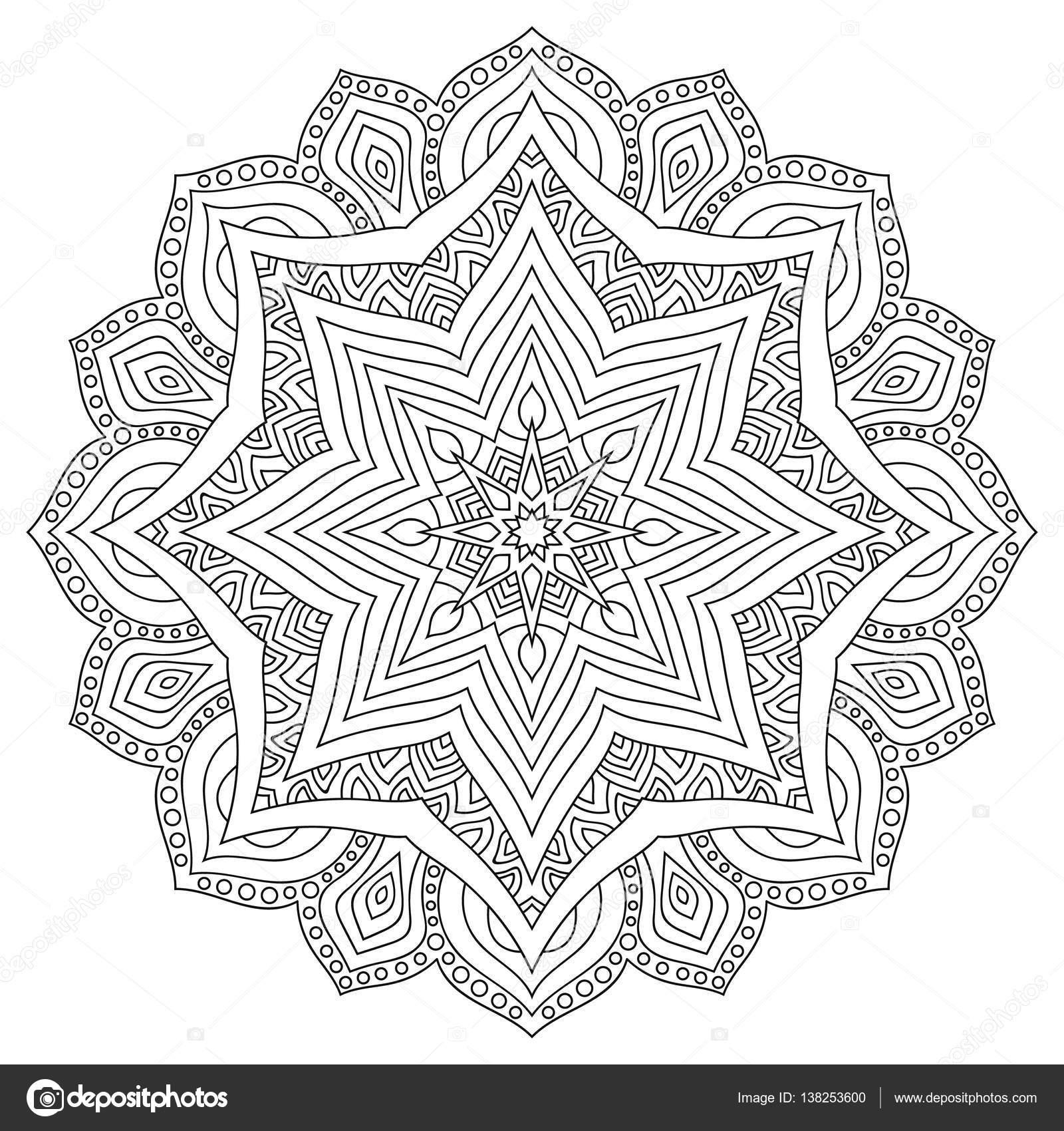 Doğu Etnik Mandala Yuvarlak Simetrik Desen Boyama Stok Vektör