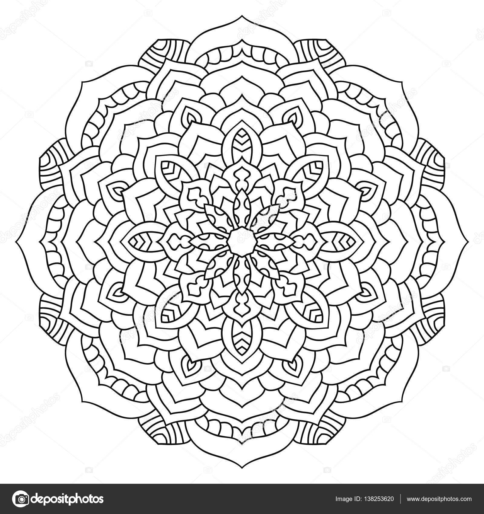 Mandala ethnique orientale. Modèle symétrique rond. Coloriage ...