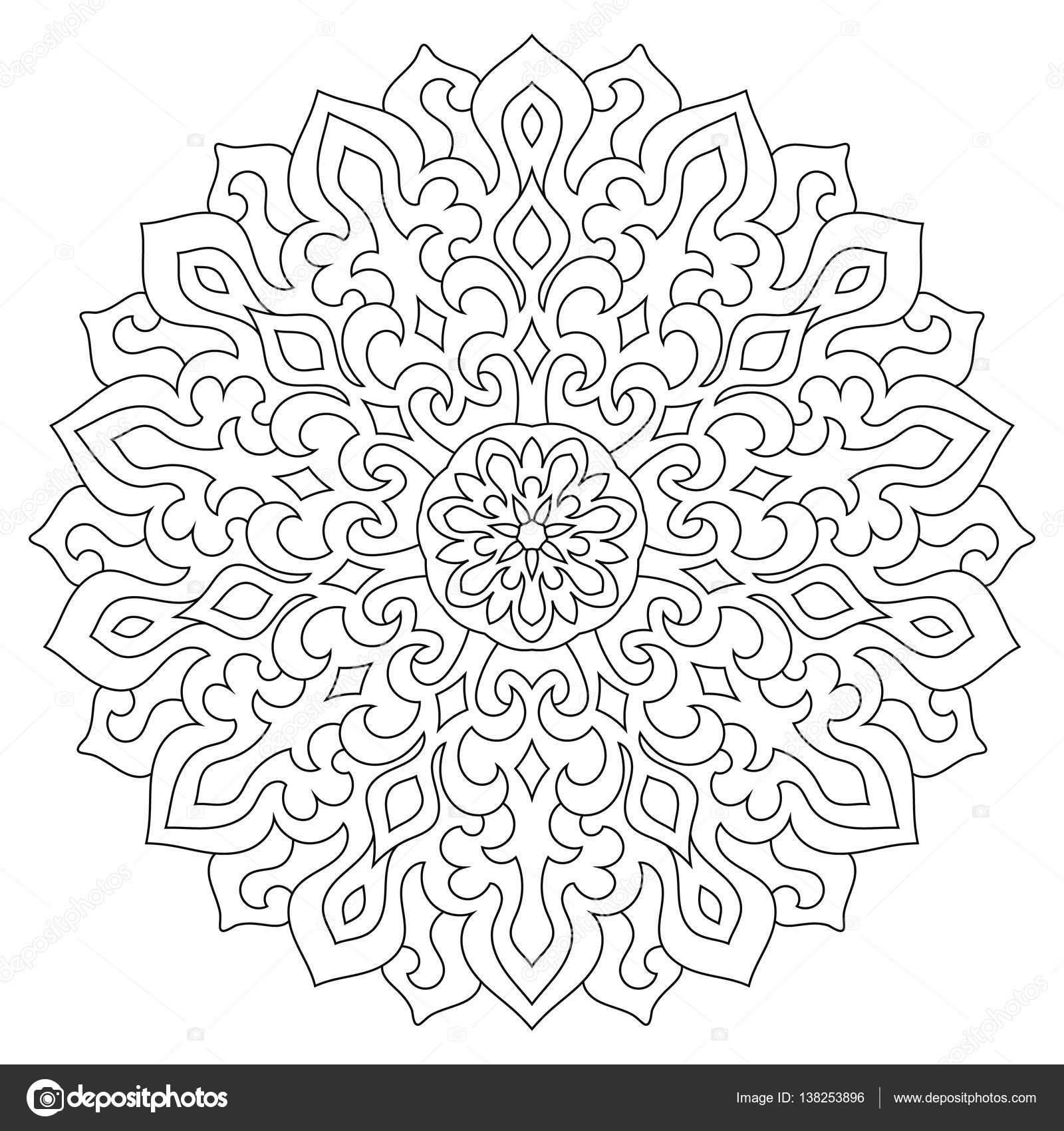 Dairesel Geometrik Susleme Yuvarlak Anahat Mandala Sayfa Boyama