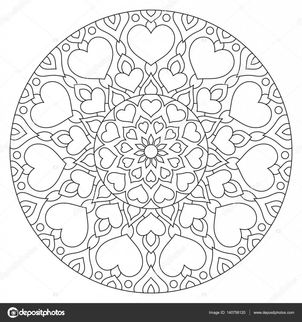 Blume Mandala mit Herzen. Malvorlagen für — Stockvektor © Ladika888 ...