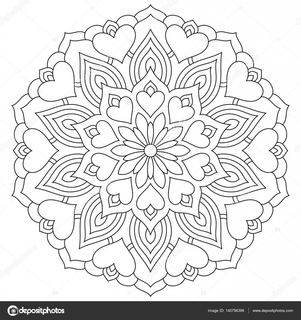 Flower mandala with hearts. Coloring page for Valentines — Stock ...
