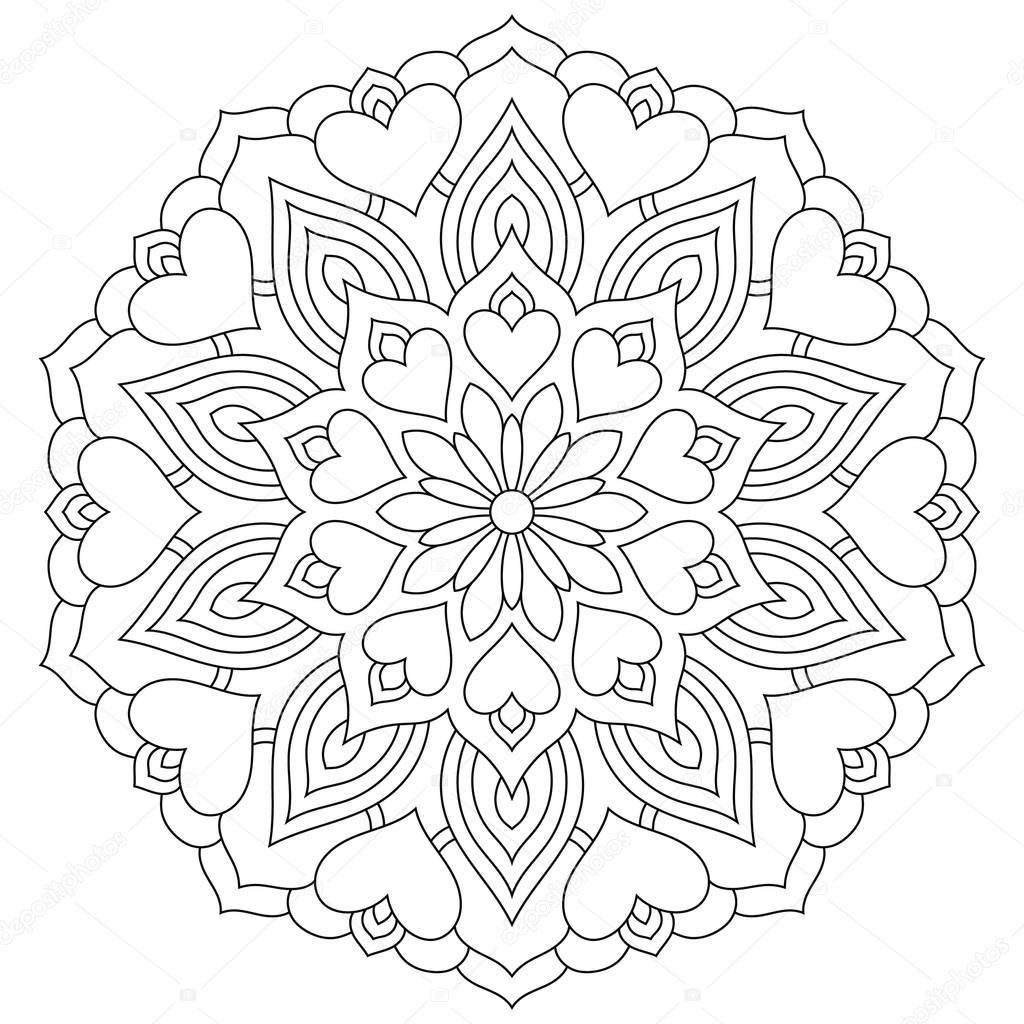 kwiat mandala z serca kolorowanki na walentynki grafika