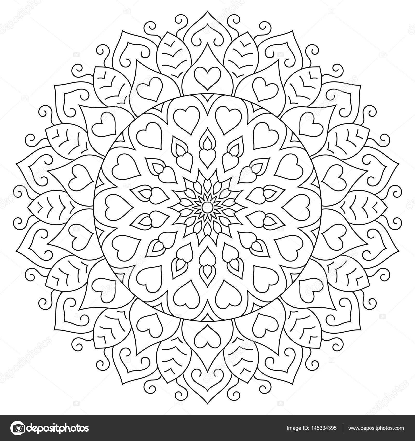 Mandala de flores con corazones. Página para colorear para — Vector ...