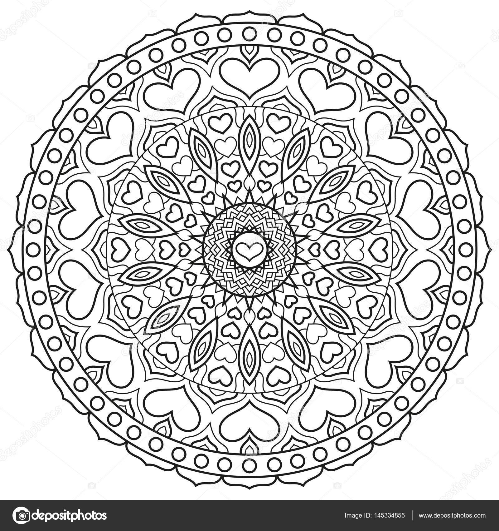 Mandala Boyama Kitabı Sayfası Için Yürekleri Daire Simetrik Stok