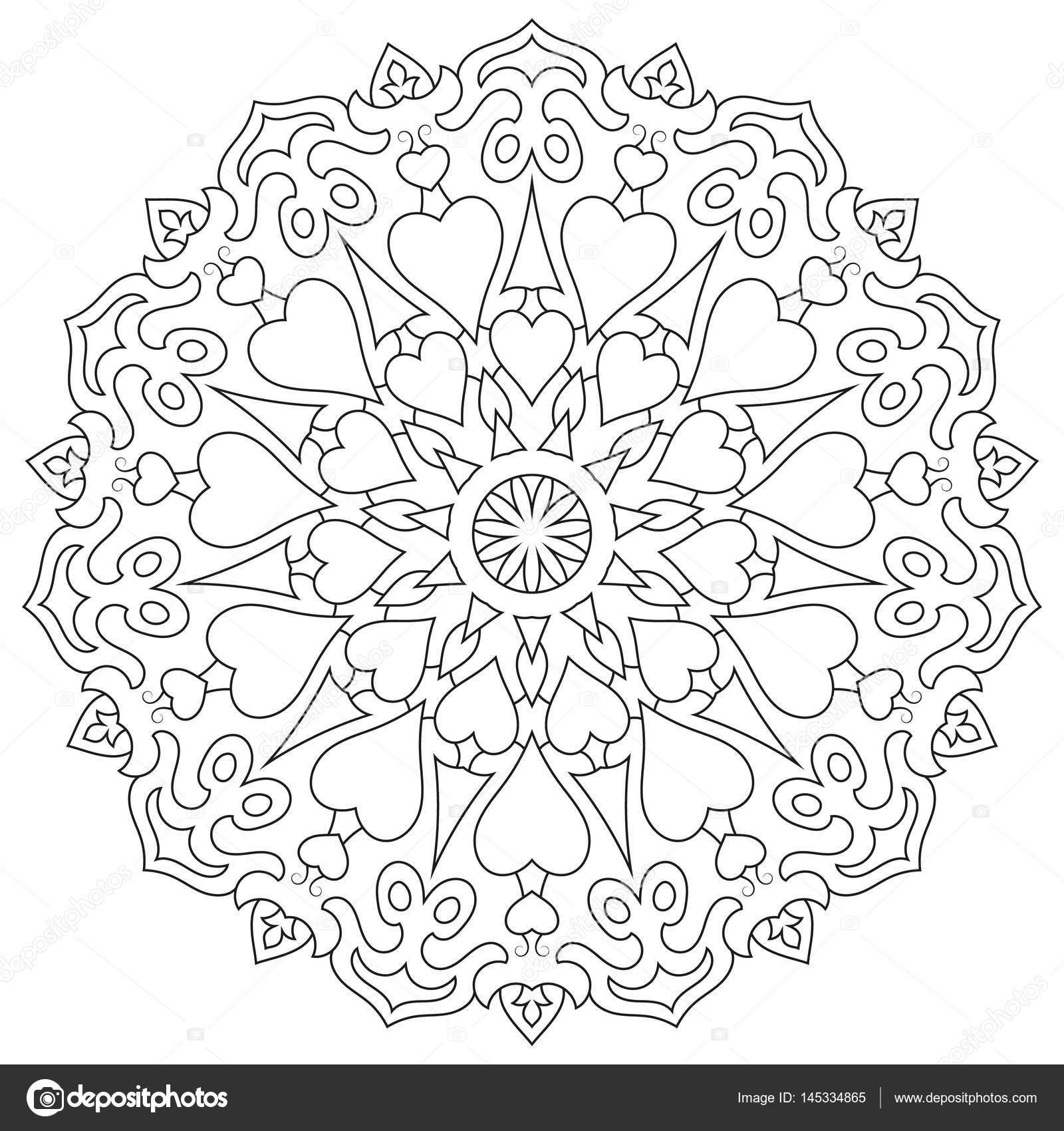 Página para colorear mandala con corazones aislados en blanco ...