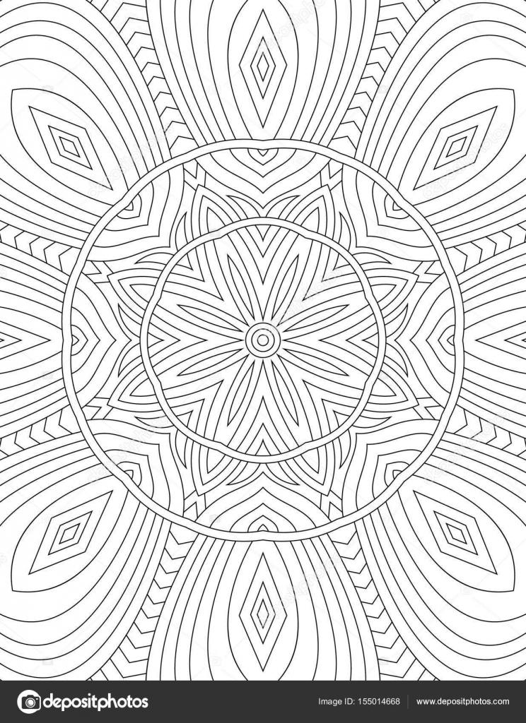 Malbuch für Erwachsene Mandala gezeichnet mit schwarzen Linien auf ...