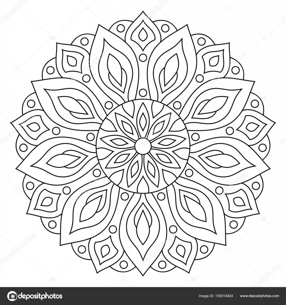 Ornamento geométrico circular. Contorno redondo Mandala para ...