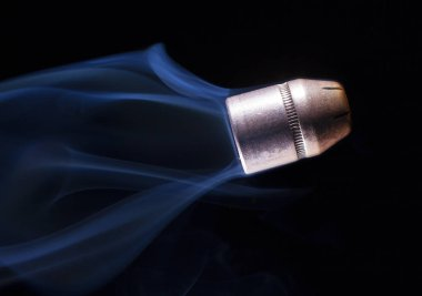 Flying bullet with smoke