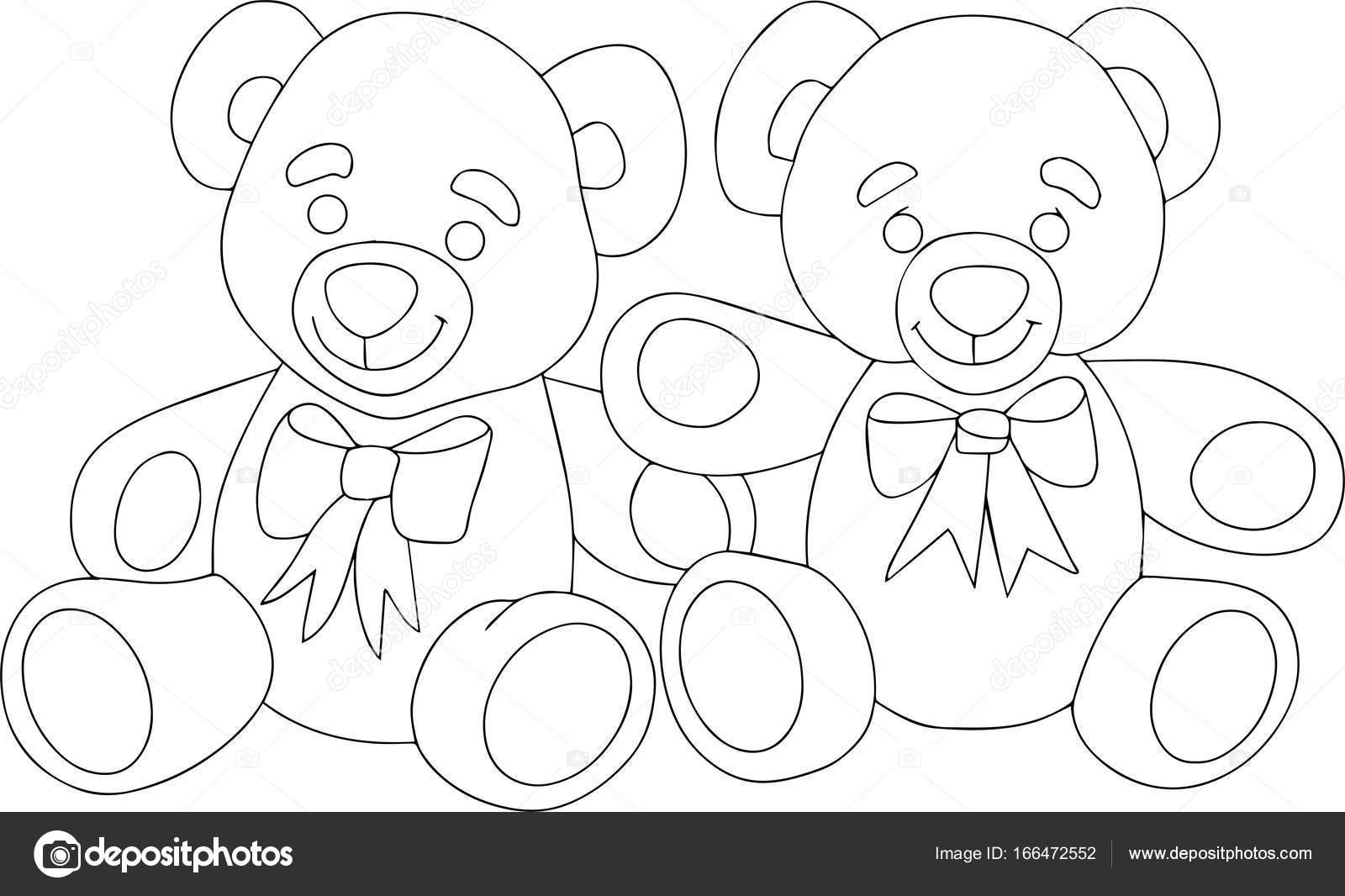 Dos osos de peluche lindos. arte blanco y negro lineal — Vector de ...