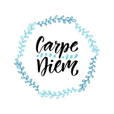 Carpe diem. Handwritten latin quote. Modern calligraphy vector design for t-shirts, poster and greeting cards