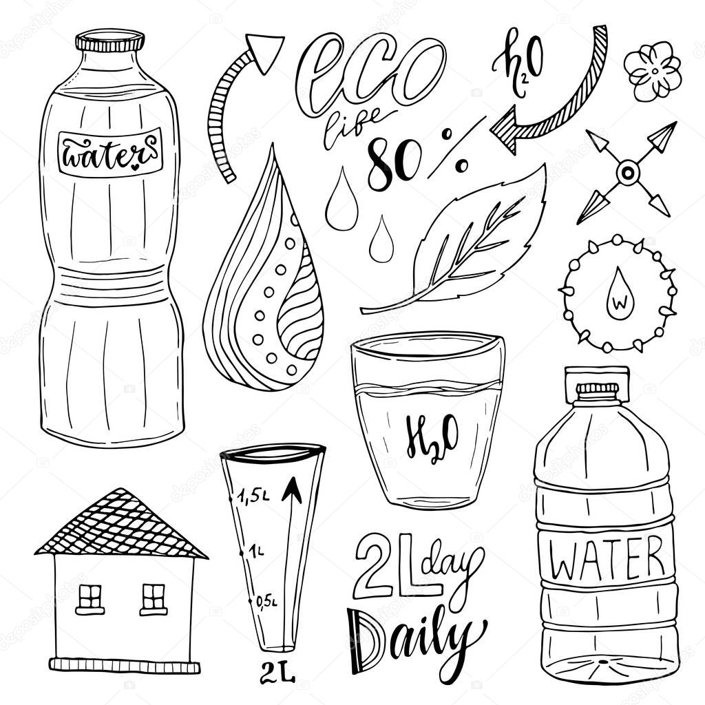 Vector hand drawn set of water and recycle icons. Healthy collection with water bottles. Drink more water concept