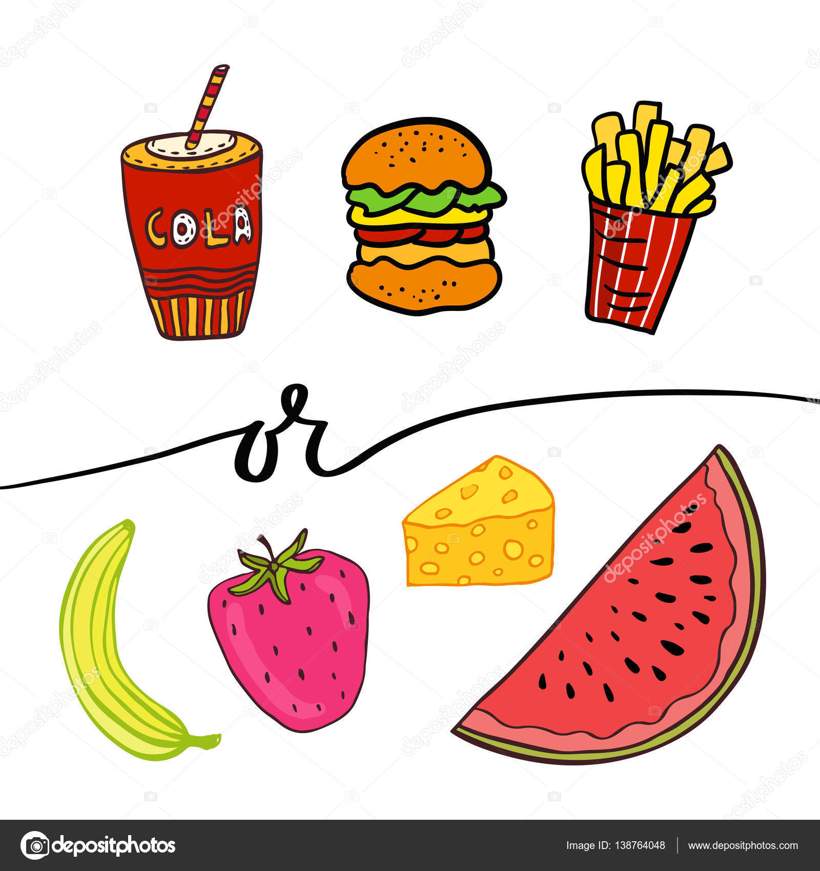 Unhealthy And Healthy Food Clipart