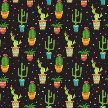 Cactuses seamless pattern