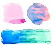 Fotografie farbenfrohe Aquarellgestaltungselemente. helle Hintergründe für Frühlings- oder Sommerdekorationen