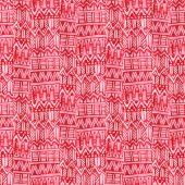 Photo Watercolor ethnic seamless pattern. Modern textile design in red color.