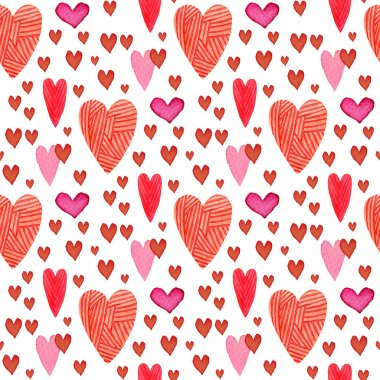 Red hearts seamless pattern. Valentines day background stock vector