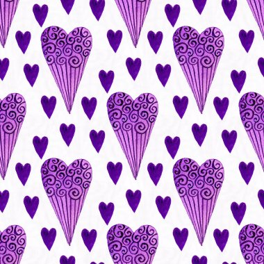 Purple hearts seamless pattern. Valentines day background stock vector