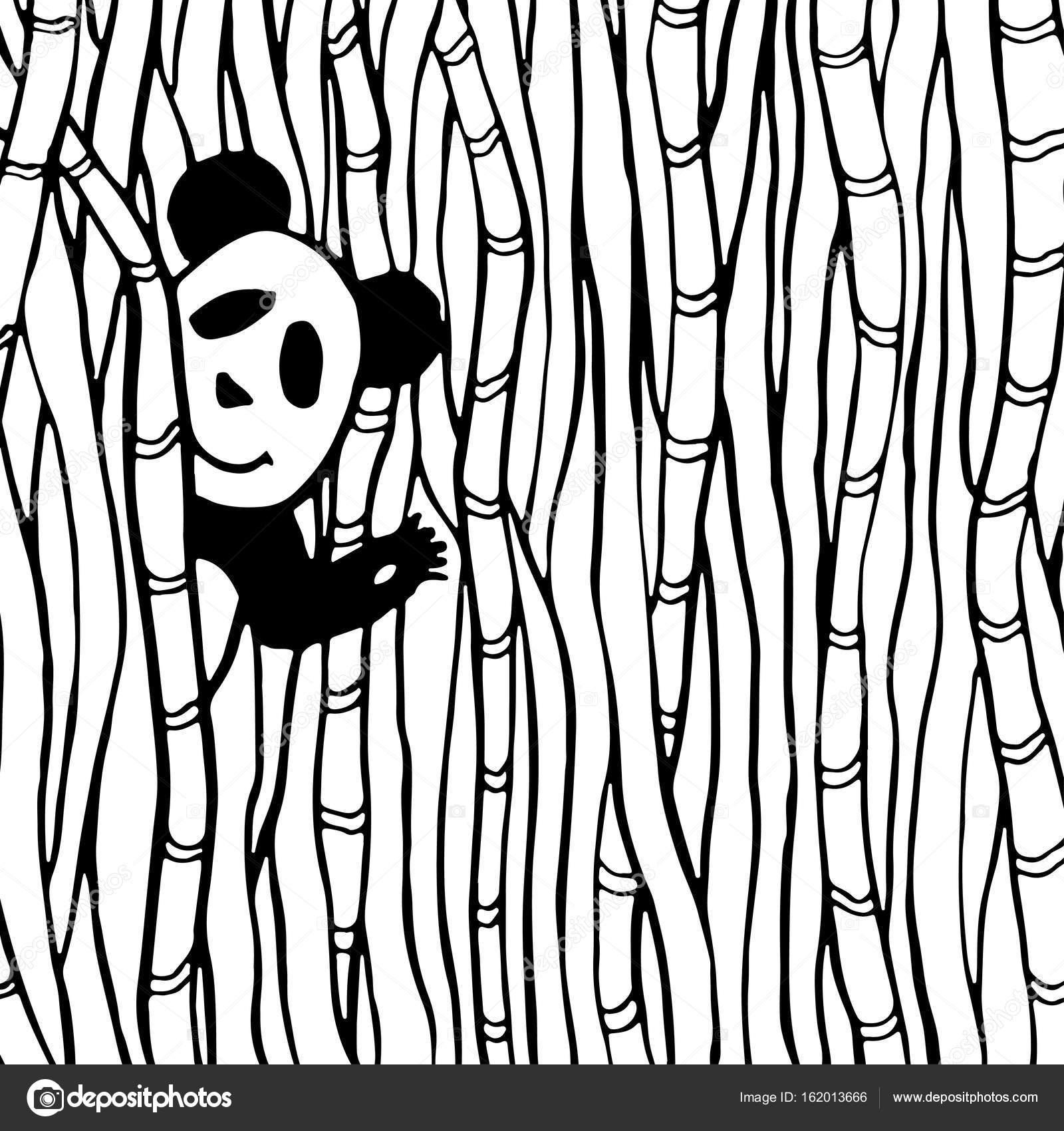 Bambu Ormana Sevimli Panda Stok Vektor C M Ion 162013666