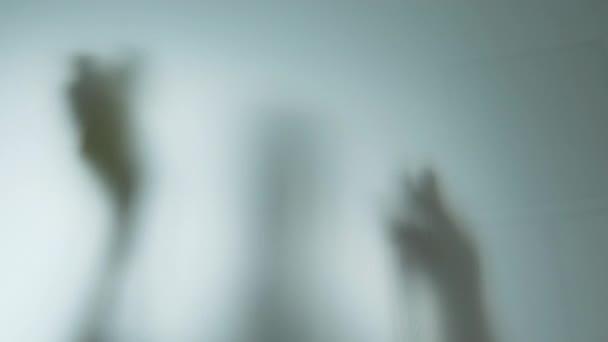 Žena silueta v rukavicích čištění okna s hadrem a čistič sprej doma