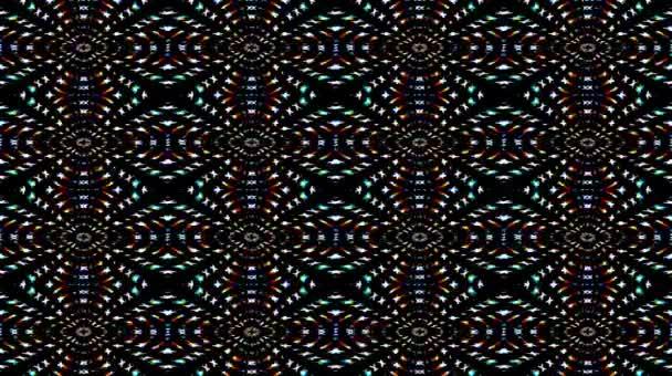 Schöne abstrakte Video, das scheint, helles Licht, das bunte Bewegungen mit Punkten reguliert, schwarzer Hintergrund