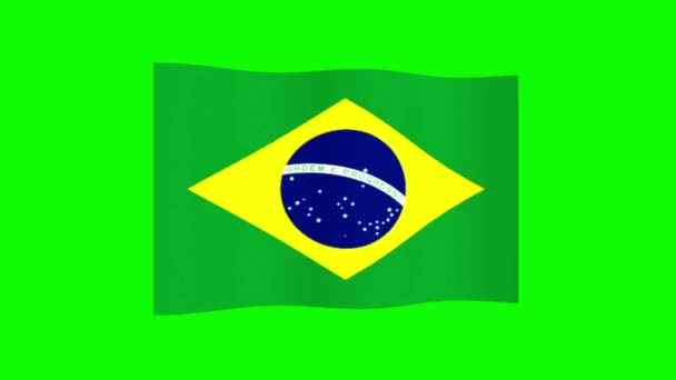 green screen brazil flag, waving in the wind