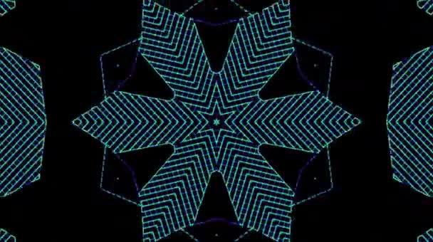 Schöne Videos, die leuchten, hell leuchten und subtile Bewegungen mit bunten Streifen auf schwarzem Hintergrund regulieren