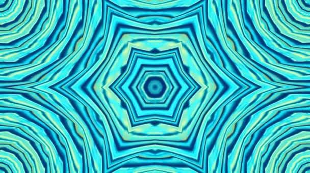 Abstraktní kaleidoskop s modrými barvami, mozaiky, abstraktní pozadí, mandaly, 4k bezešvé smyčky, meditace, hladký kulatý pohyb