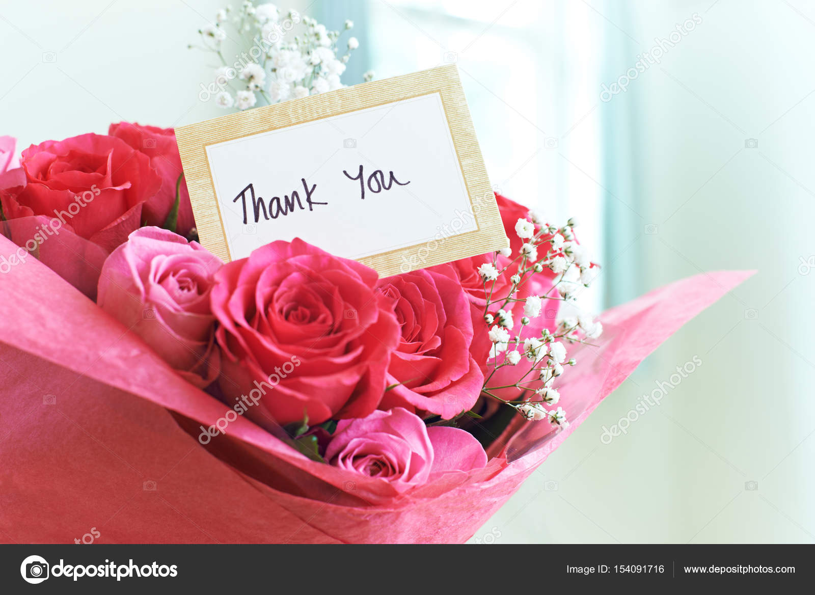 Thank You Card In Bouquet Of Flowers — Stock Photo © HighwayStarz ...