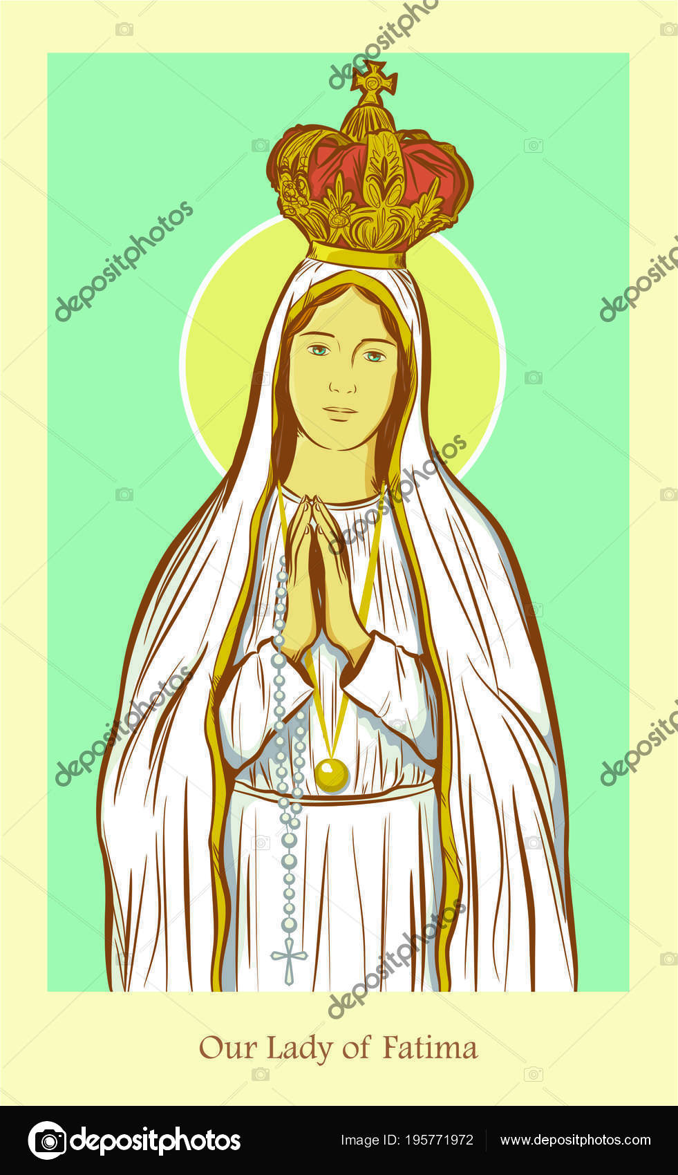 Vector Our Lady Of Fatima Our Lady Fatima Stock Vector