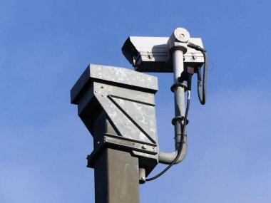 Surveillance camera monitoring motorway traffic on the M25 in Hertfordshire, England, UK