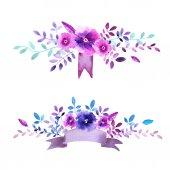 Akvarel květů a větví