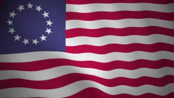 looping video of united states of america waving flag, betsy ross flag, textile fabric textured, seamless and smooth
