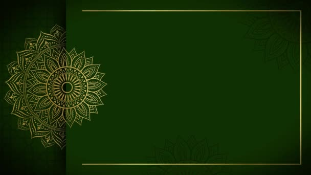 Arany és zöld mandala dísz háttér hurok simán, arab iszlám stílus bármilyen célra