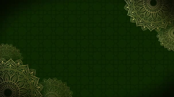 Gold and green mandala ornament background looping smoothly, arabic islamic style for any purpose