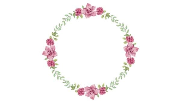 Aquarell geblümter runder Rahmen für jeden romantischen Zweck Design auf weißem Hintergrund