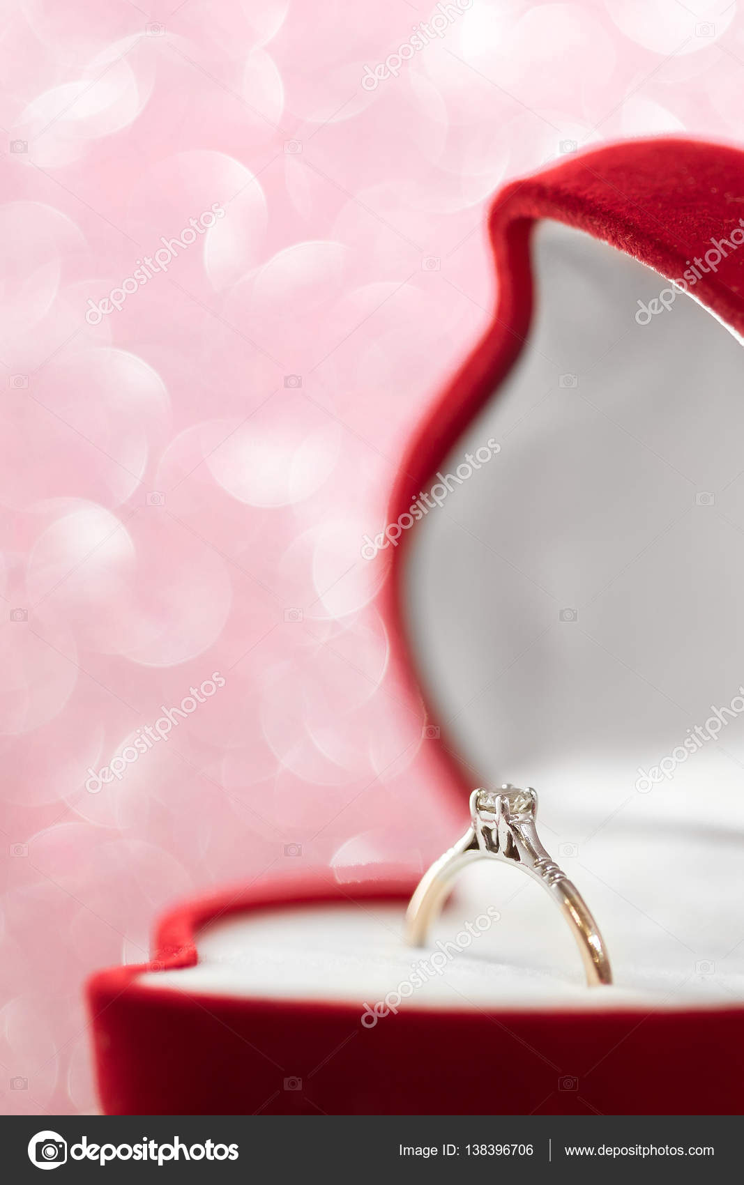 wedding diamond ring in red heart shaped gift box — Stock Photo ...