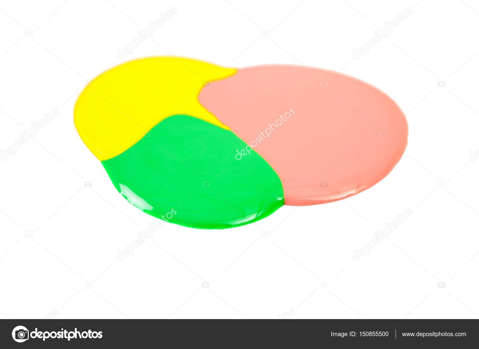 Mancha de esmalte de uñas amarillo, rosa y verde aislado sobre fondo ...