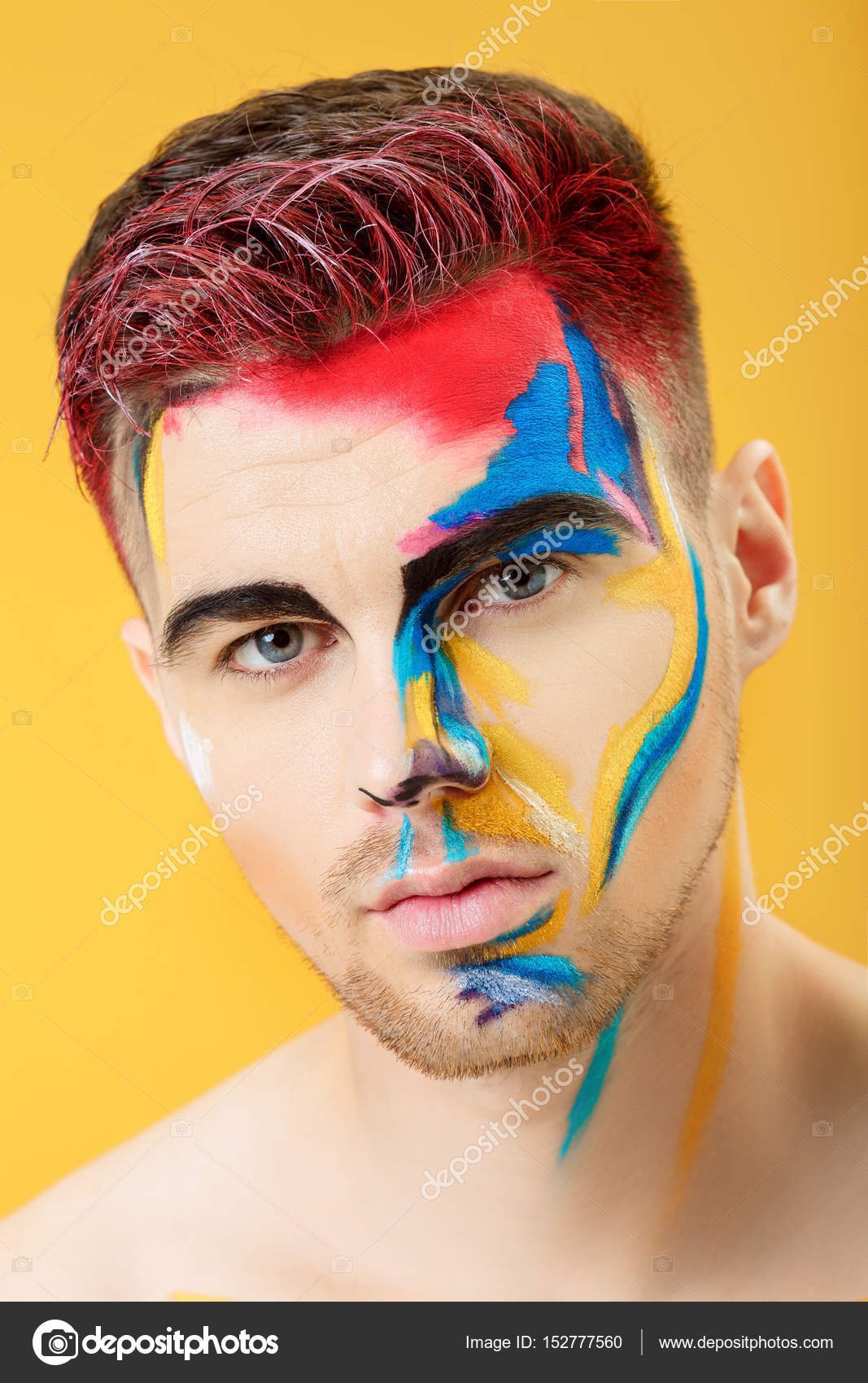 Fashion Male Portrait With Face Painting