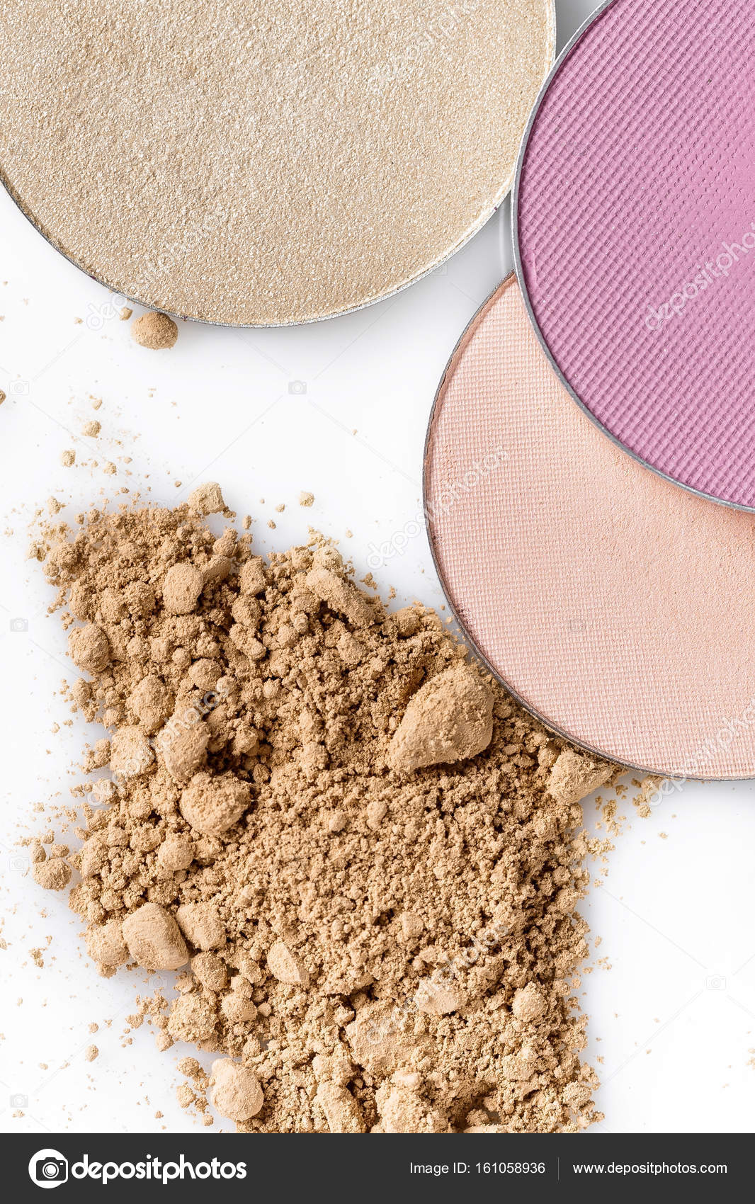 Beige Powder For The Face And Round Eye Shadow On A White Background
