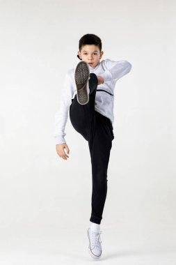 Little hip-hop boy dancing