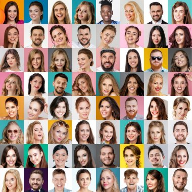 Collage of happy smiling faces of people. Happy men and women expressing different positive emotions. Human emotions, facial expression concept. stock vector