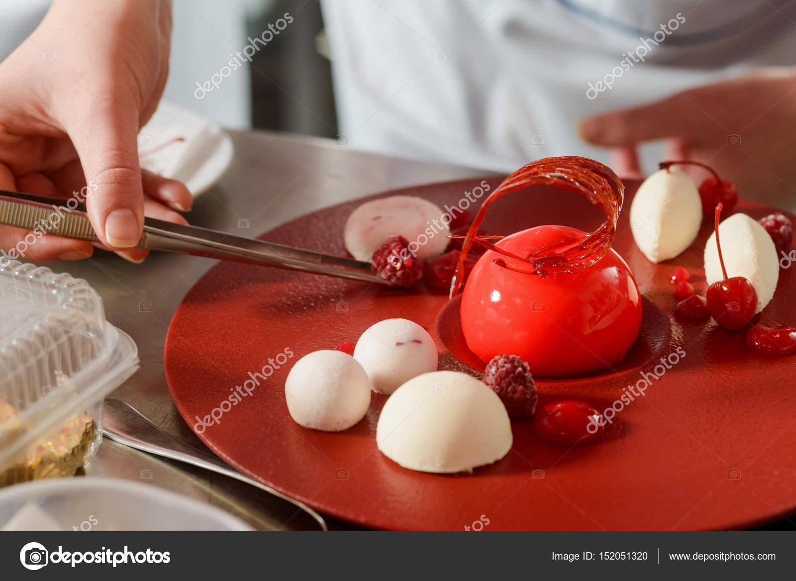 Decorating Dessert With Raspberries Stock Photo C Ygphoto 152051320